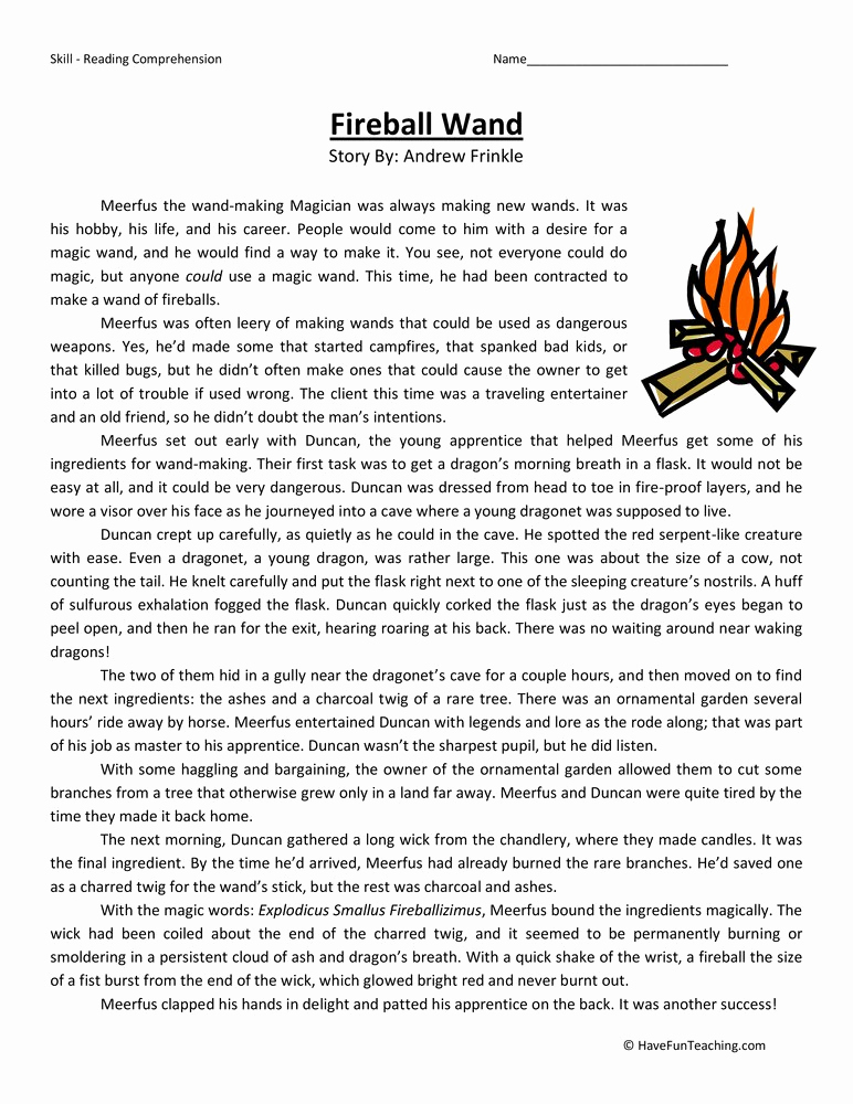Reading Worksheets 5th Grade Unique Fireball Wand Fifth Grade Reading Prehension
