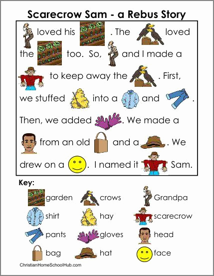 Rebus Story Worksheets Awesome Scarecrow Sam Rebus Story with Flashcards and even A Craft