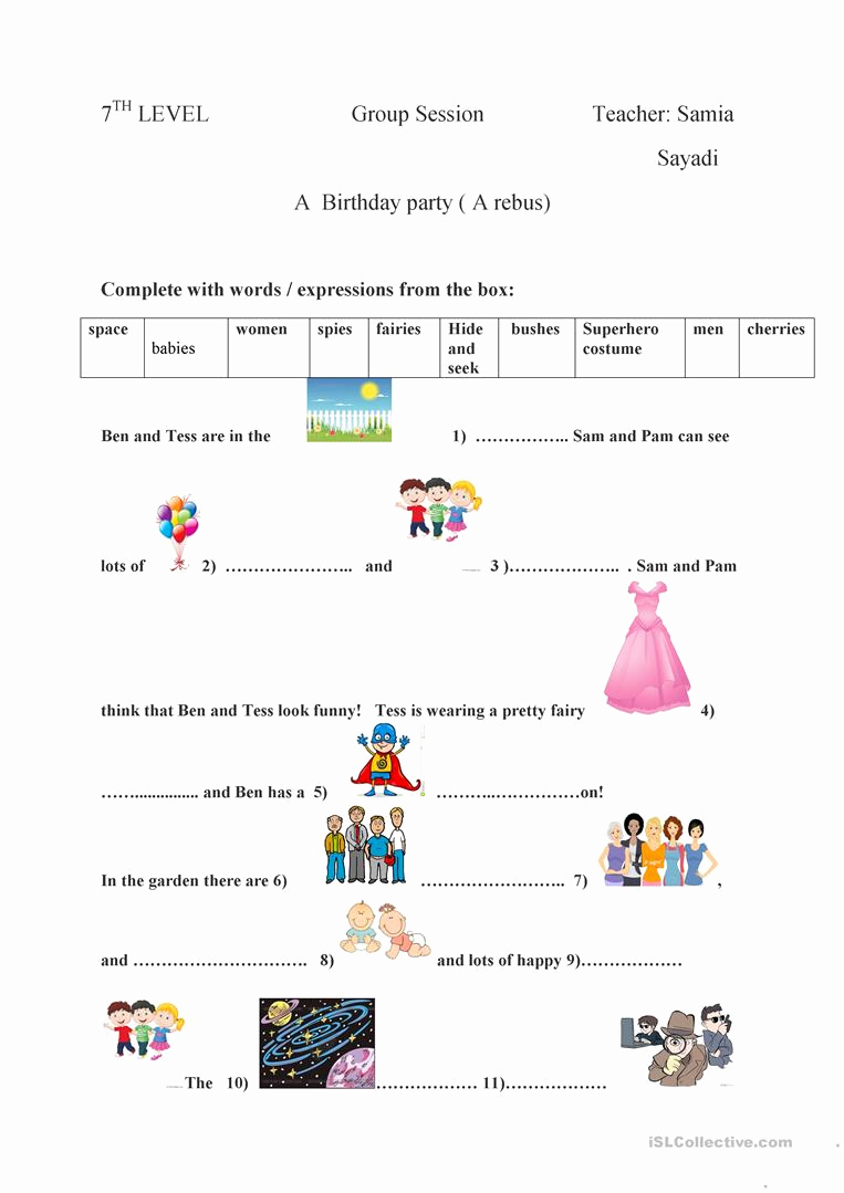 Rebus Story Worksheets Best Of A Birthday Party A Rebus English Esl Worksheets for