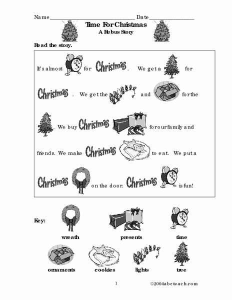 Rebus Story Worksheets Best Of Time for Christmas A Rebus Story Worksheet for