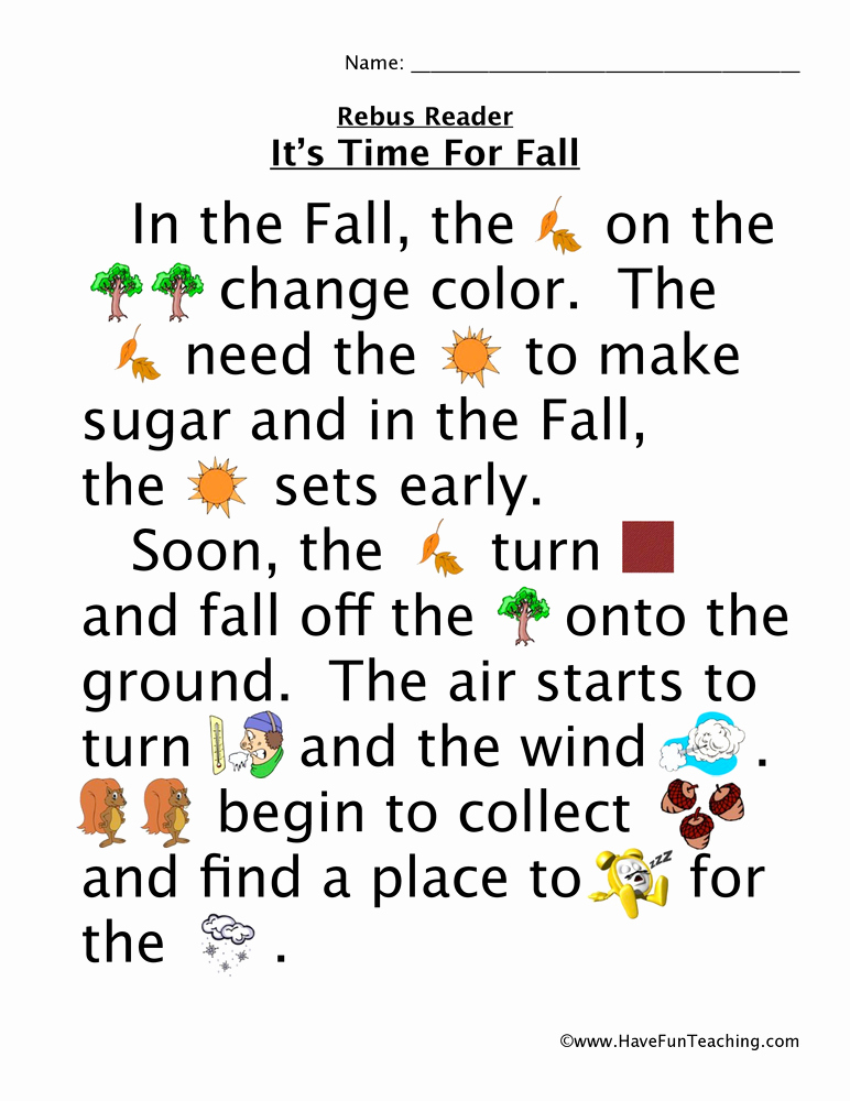 Rebus Story Worksheets Best Of Time for Fall Rebus Worksheet