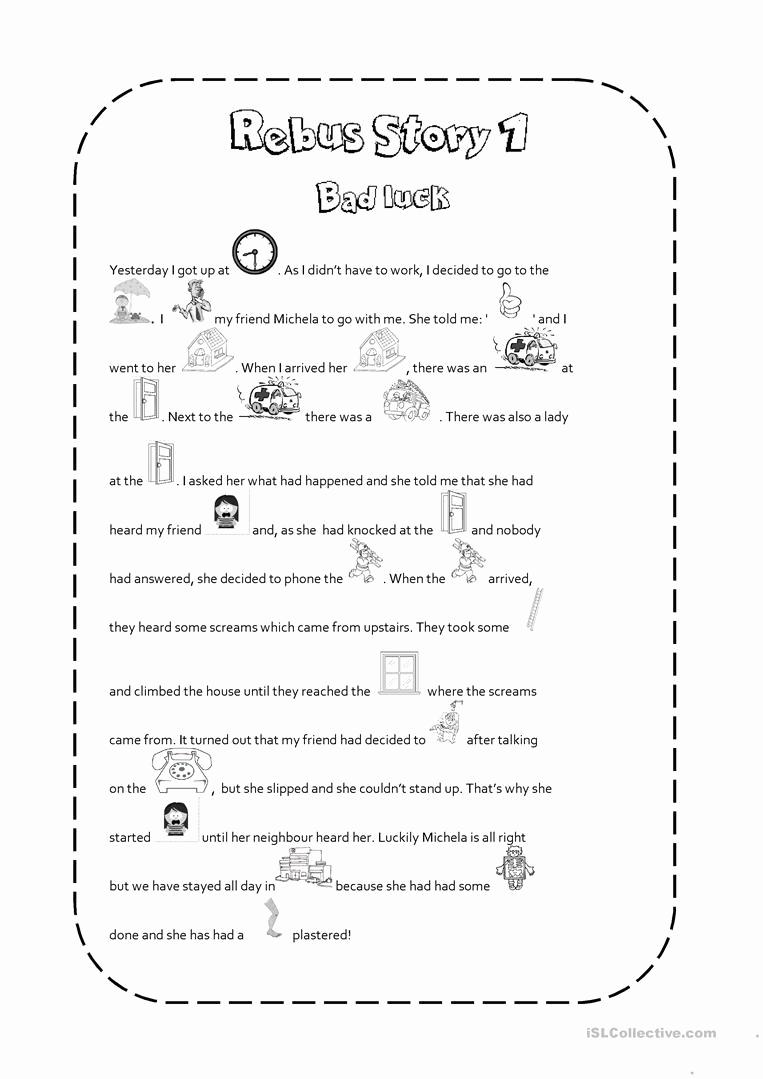 Rebus Story Worksheets Elegant Rebus Story 1 Worksheet Free Esl Printable Worksheets