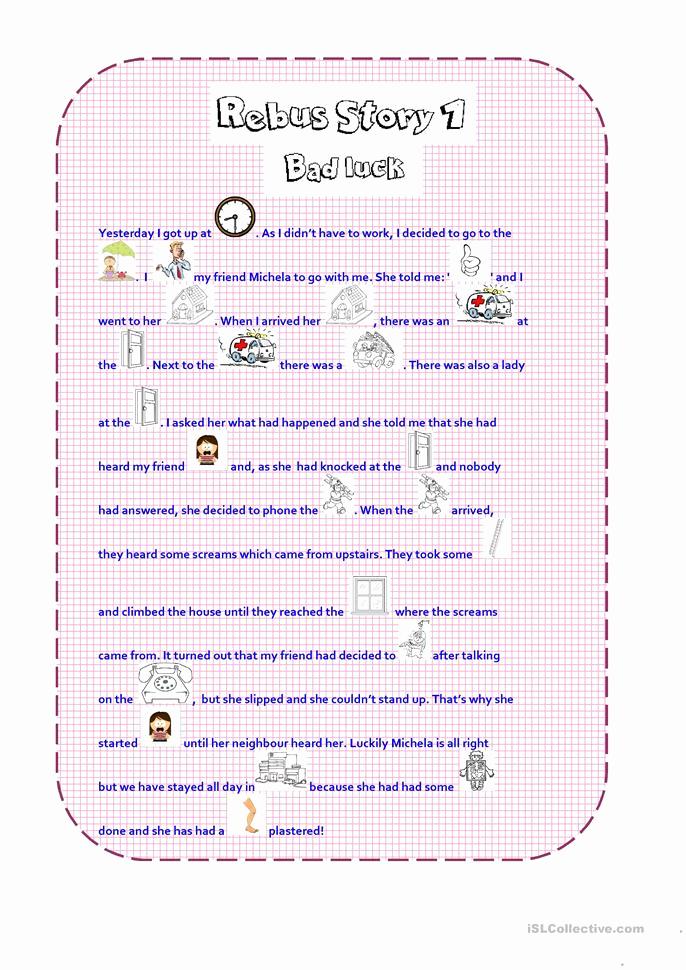 Rebus Story Worksheets Inspirational Rebus Story 1 Worksheet Free Esl Printable Worksheets