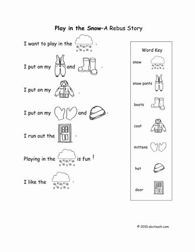 Rebus Story Worksheets Luxury Rebus Worksheets Play In Snow Kdg