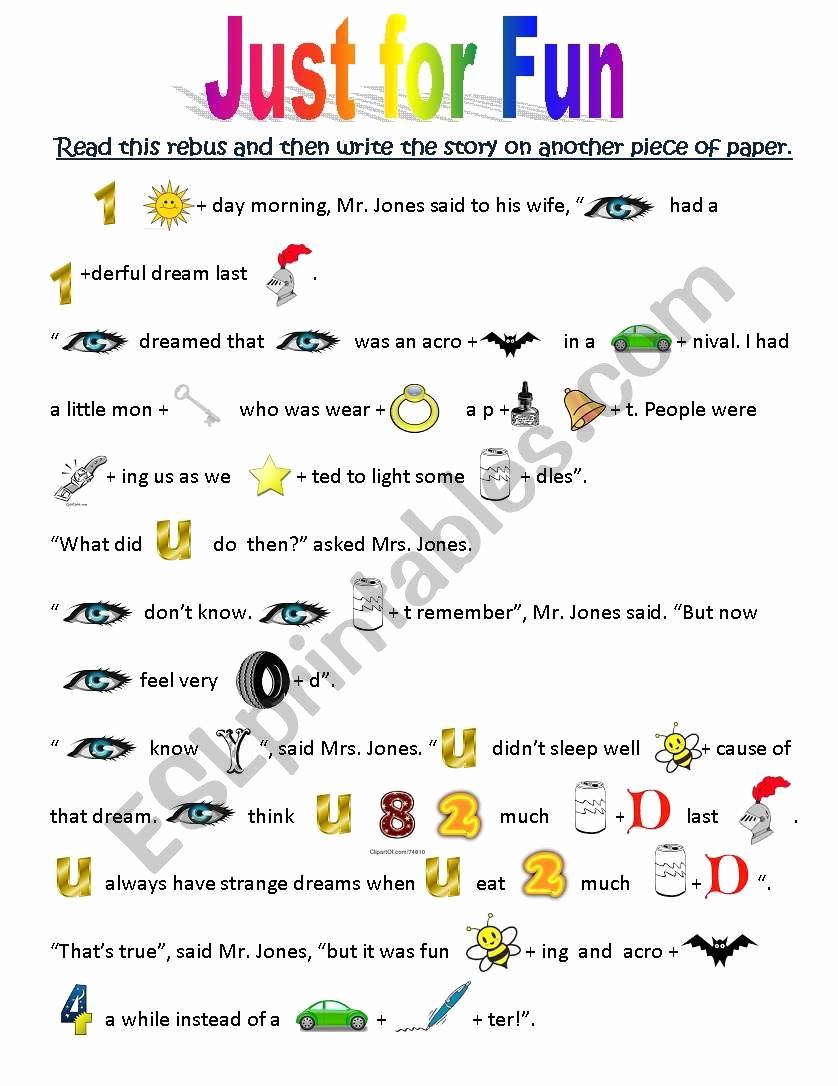Rebus Story Worksheets New Rebus Just for Fun Esl Worksheet by Vic Mon