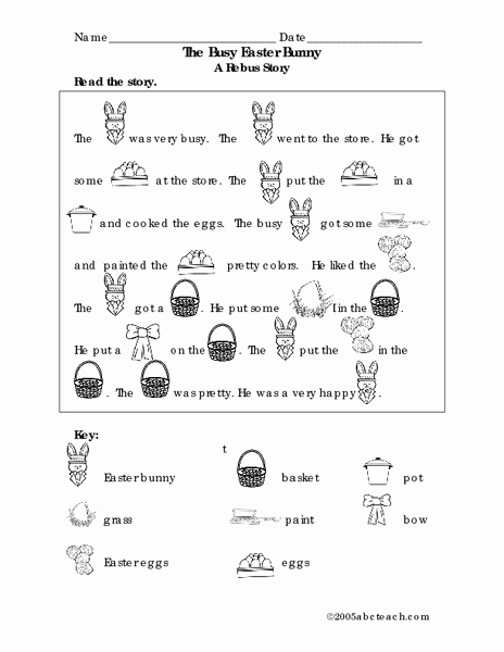 Rebus Story Worksheets Unique the Busy Easter Bunny A Rebus Story Lesson Plan for