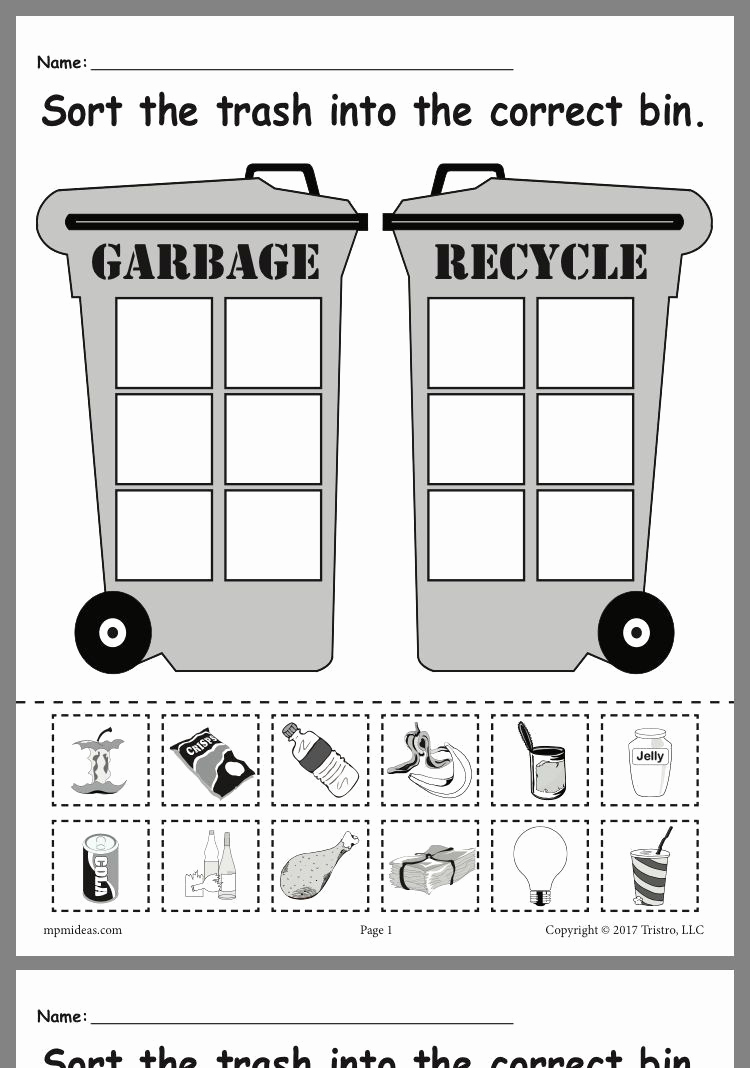 Recycling Worksheets for Middle School Best Of Recycling Worksheets for Kindergarten In 2020