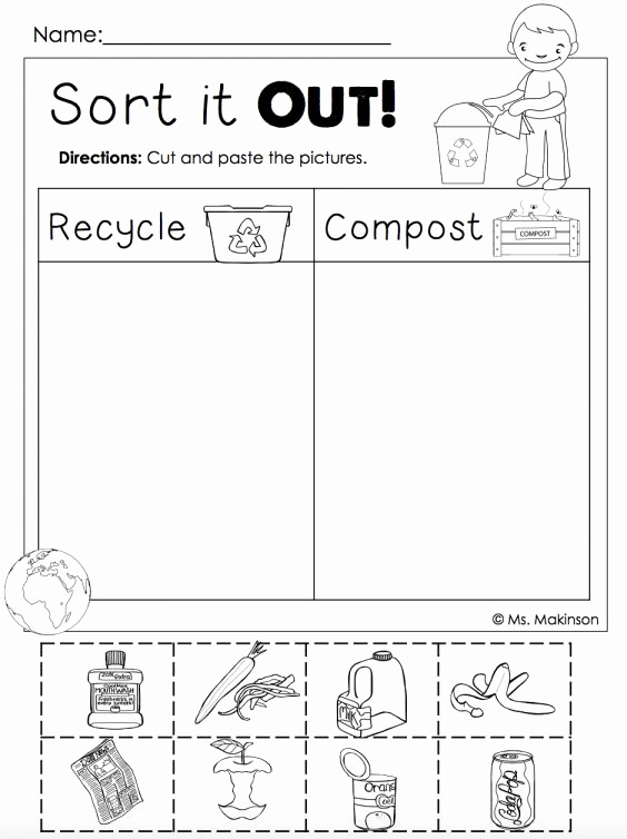 Recycling Worksheets for Middle School Elegant 8 Recycle Worksheet Kindergarten Kindergarten