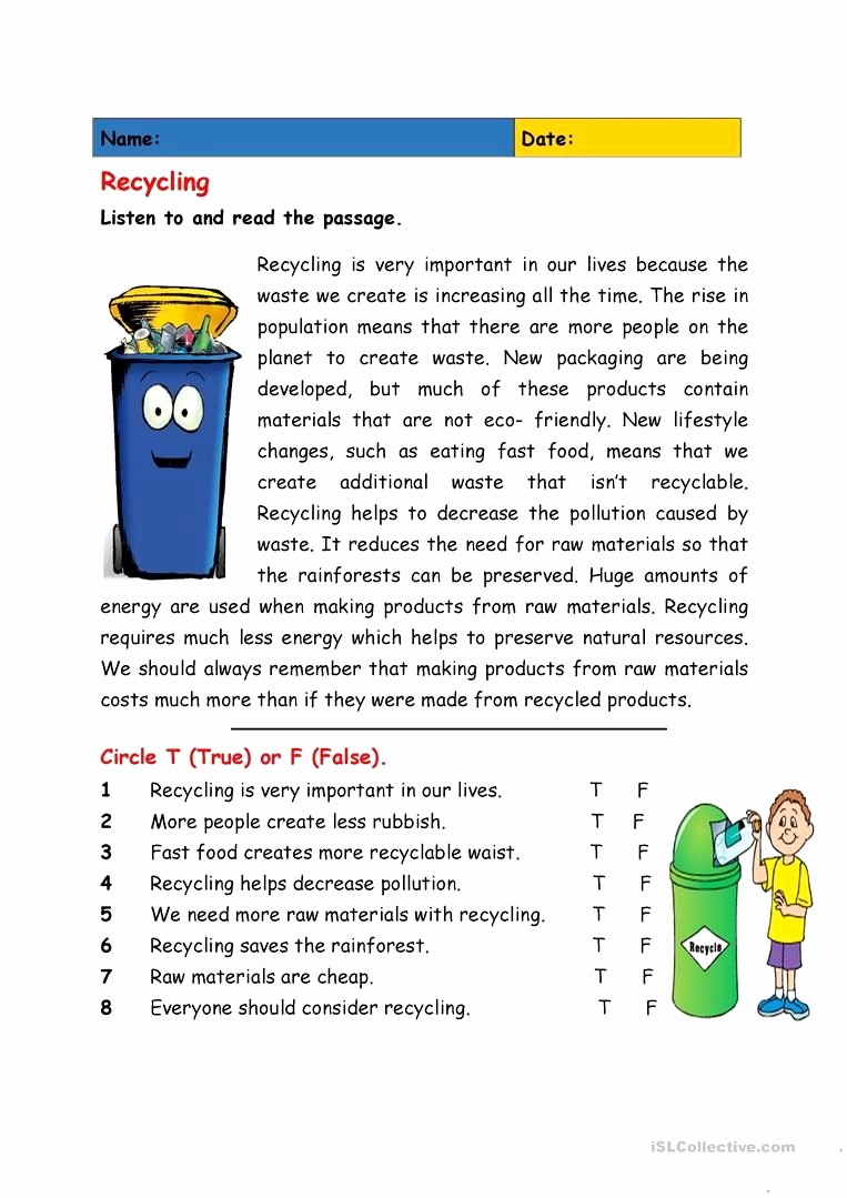 Recycling Worksheets for Middle School Lovely Recycling Worksheets for Middle School