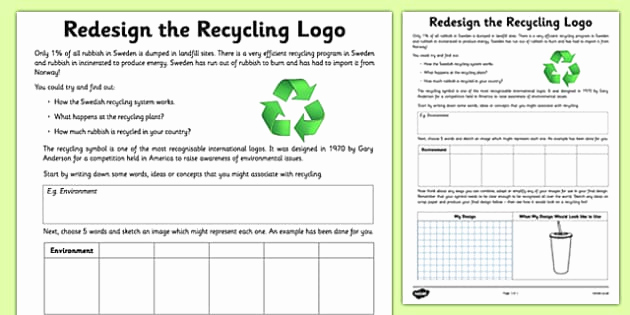 Recycling Worksheets for Middle School Luxury Redesign the Recycling Logo Worksheet Activity Sheet