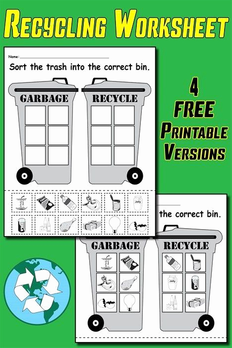 Recycling Worksheets for Middle School New Recycling Worksheets for Kindergarten sorting Trash Earth