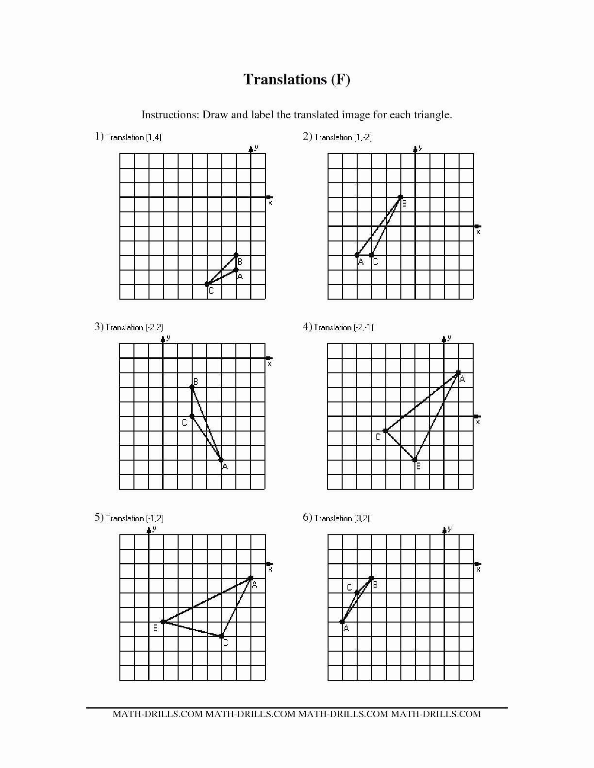Reflection and Translation Worksheets Fresh Translations Math Worksheets Translate Rotation Reflection