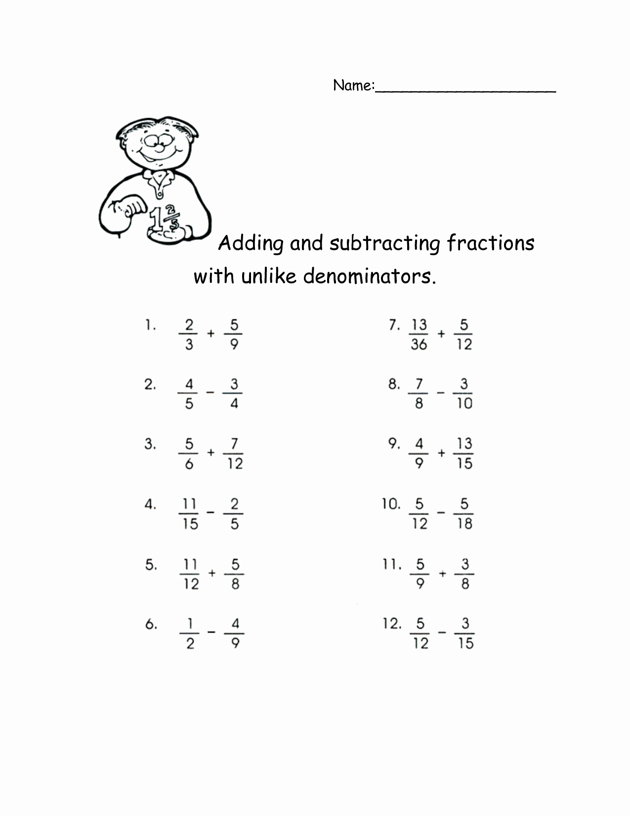 Regrouping Fractions Worksheet New Subtracting Fractions with Unlike Denominators and