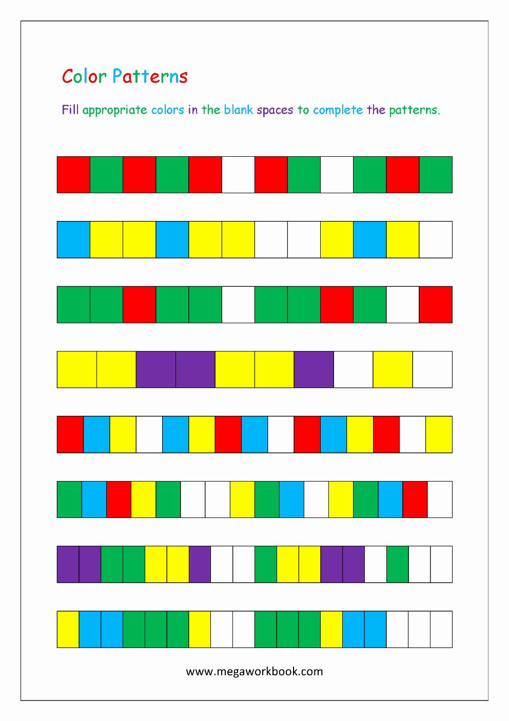 Repeated Pattern Worksheets Awesome Pattern Worksheets for Kindergarten Color Patterns