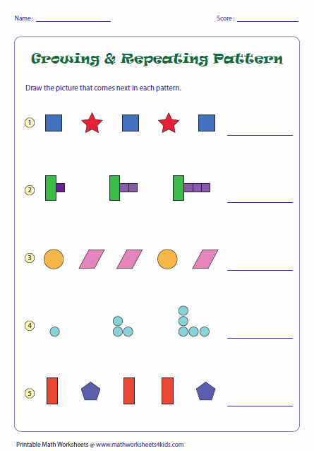 Repeated Pattern Worksheets Beautiful Growing and Repeating Patterns