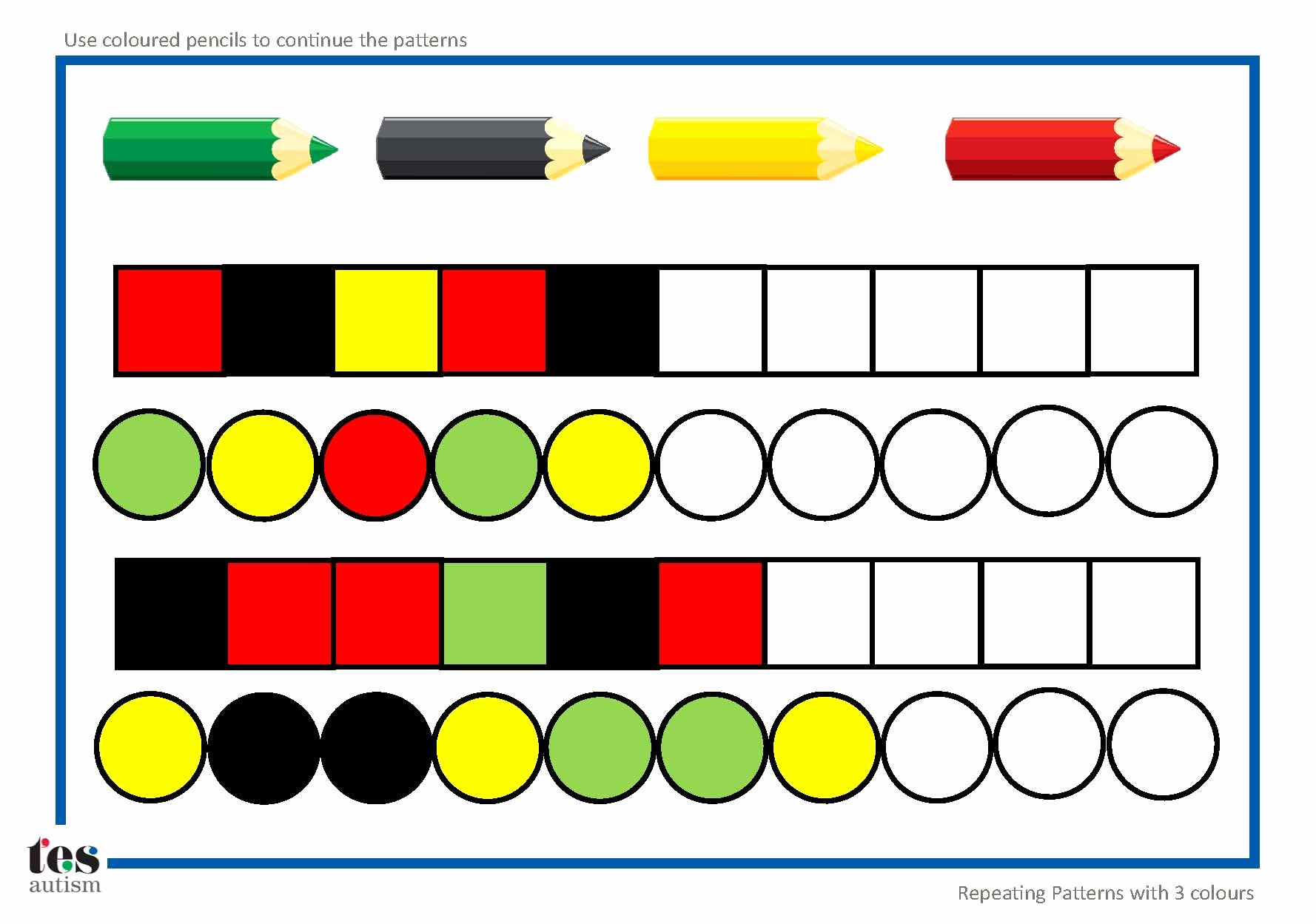 Repeated Pattern Worksheets Beautiful Repeating Patterns with 3 Colours 4 Worksheet Activities