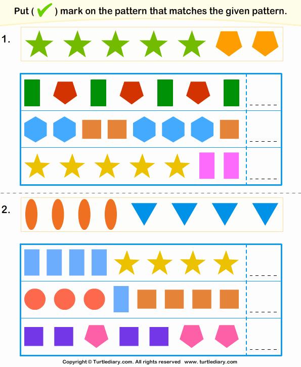 Repeated Pattern Worksheets Beautiful Similar Pattern Turtlediary