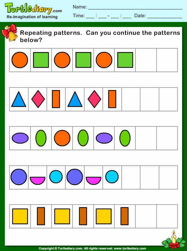 Repeated Pattern Worksheets Best Of Christmas Repeating Patterns Worksheet Turtle Diary
