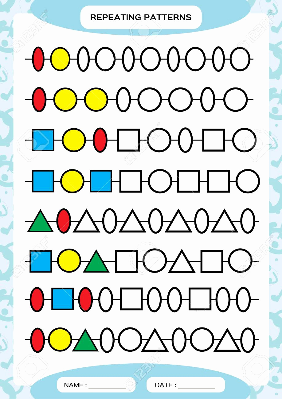 Repeated Pattern Worksheets Best Of Oval Pattern Worksheets