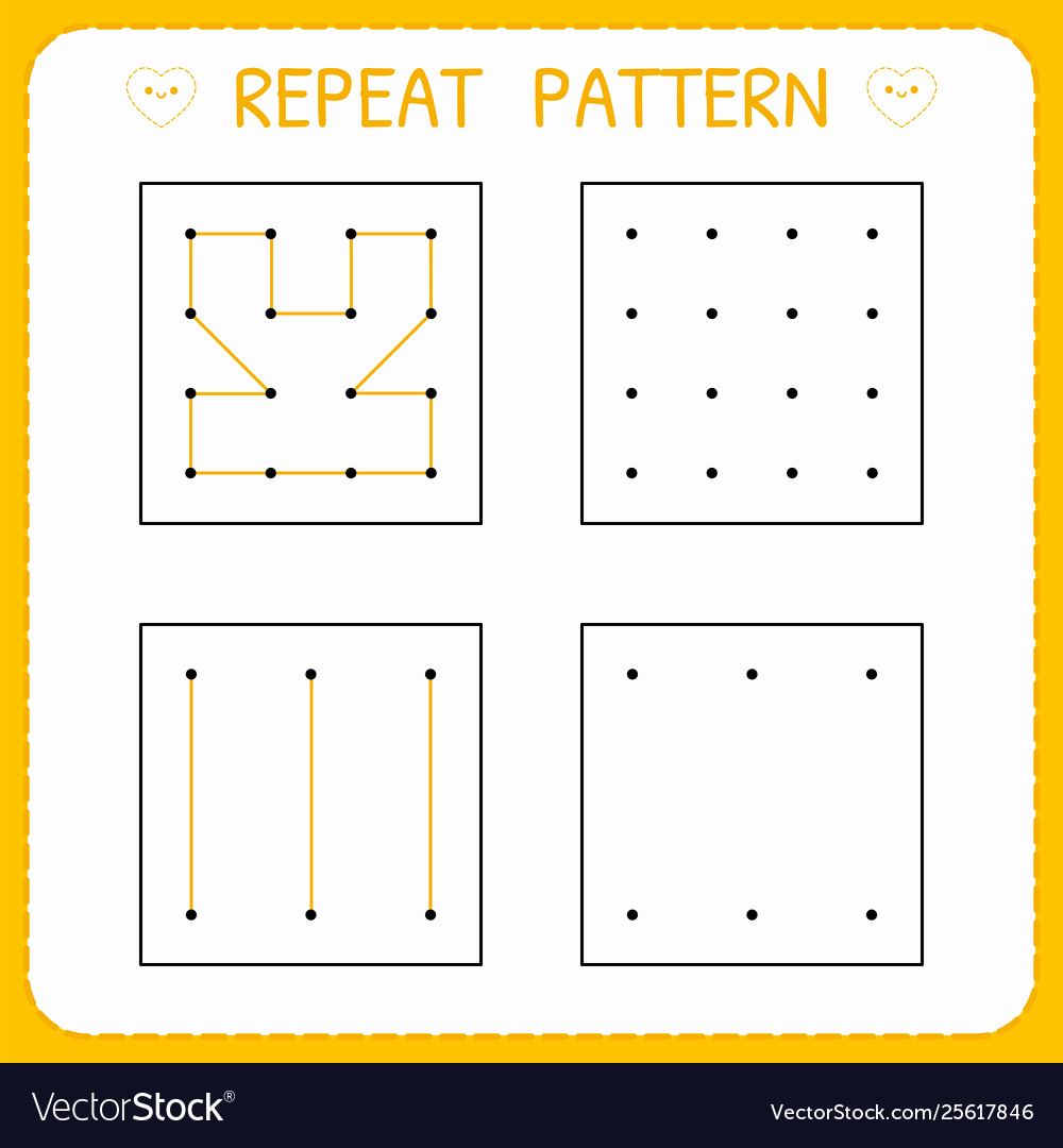 Repeated Pattern Worksheets Best Of Repeat Pattern Worksheet for Kindergarten and Vector Image