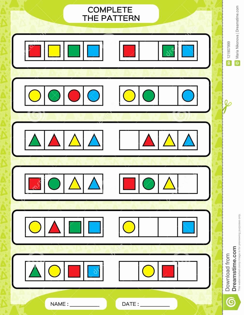Repeated Pattern Worksheets Elegant Plete Simple Repeating Patterns Worksheet for