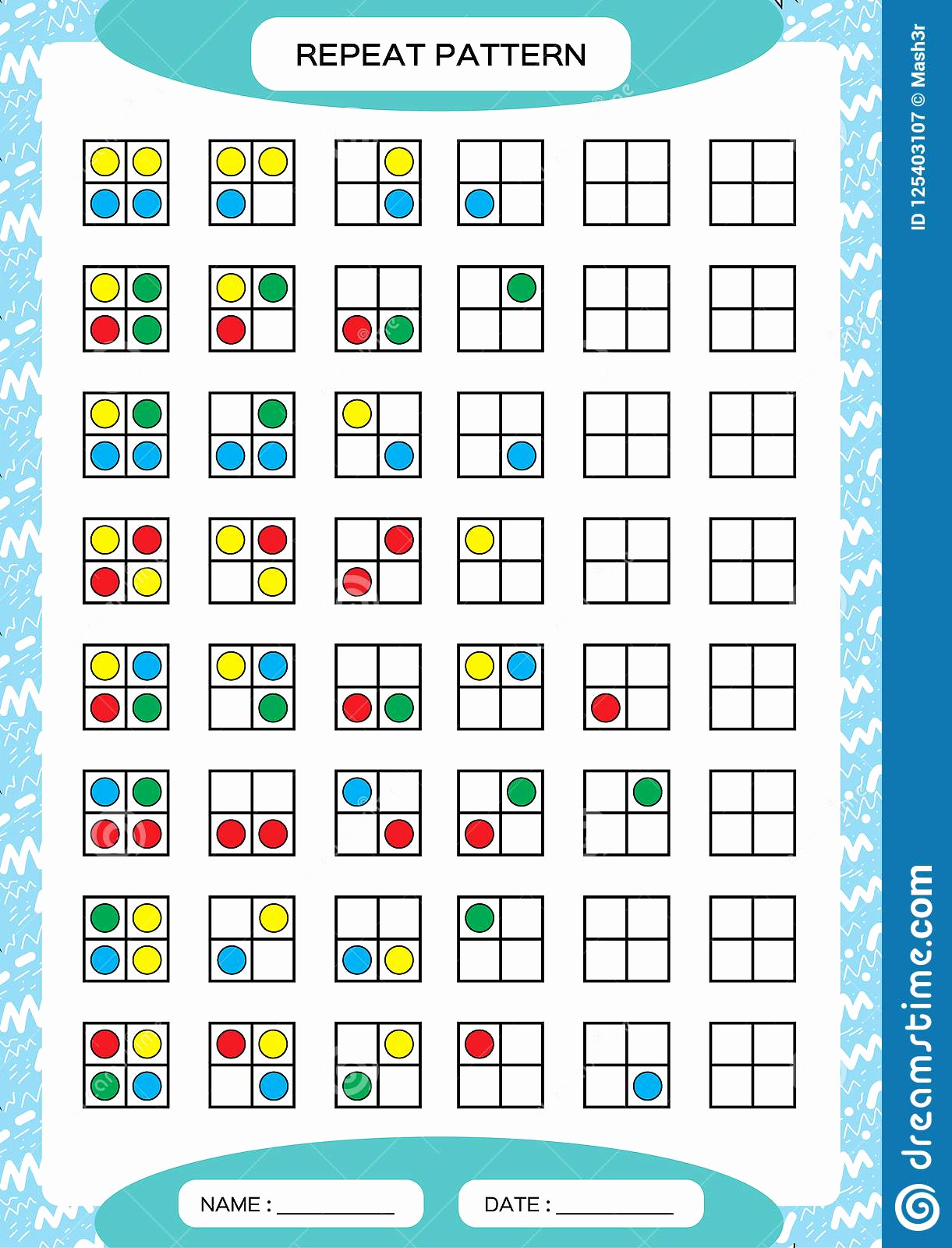 Repeated Pattern Worksheets Fresh Repeat Pattern Square Grid with Colorfull Circles