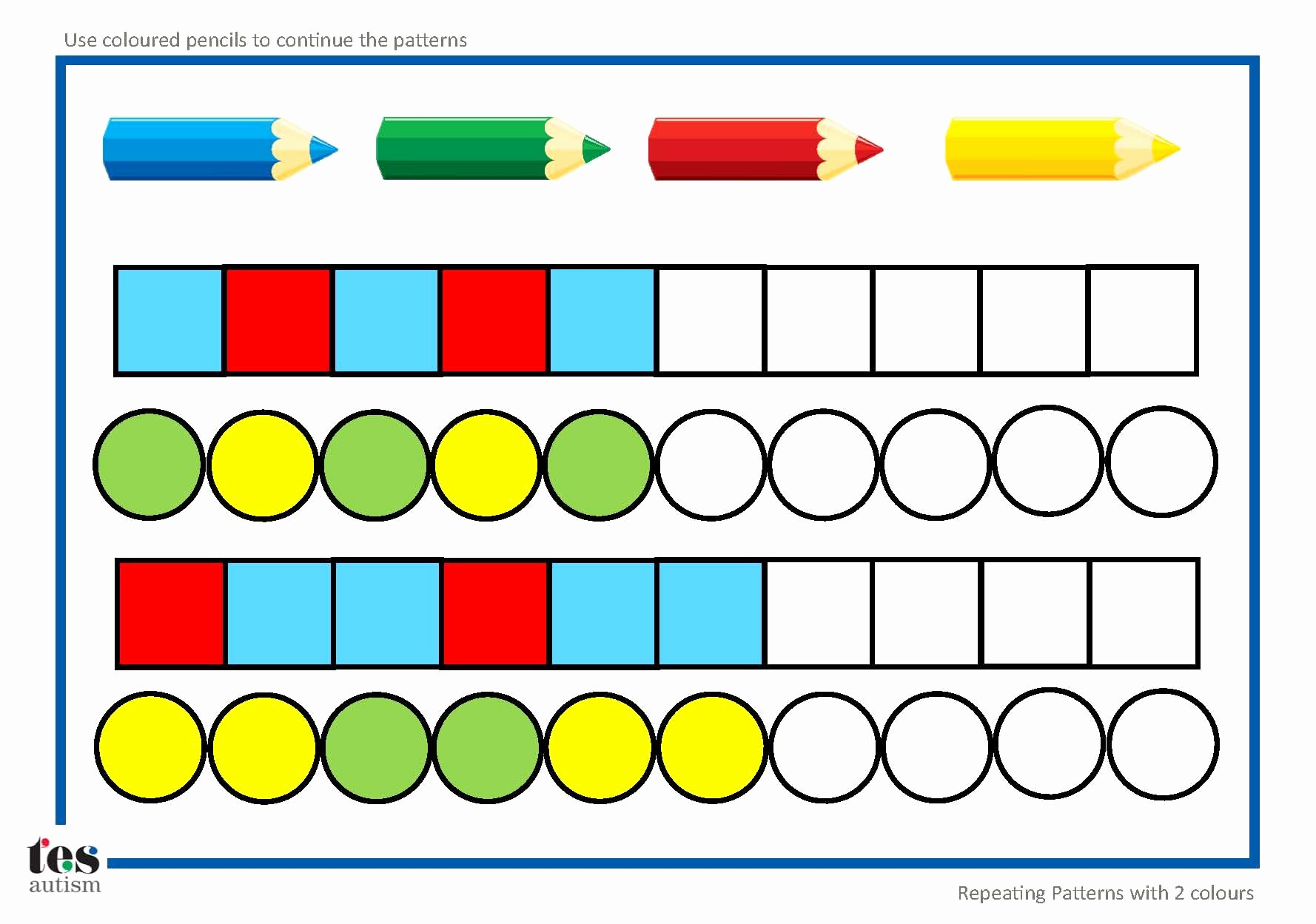 Repeated Pattern Worksheets Fresh Repeating Patterns with 2 Colours 4 Worksheet Activities