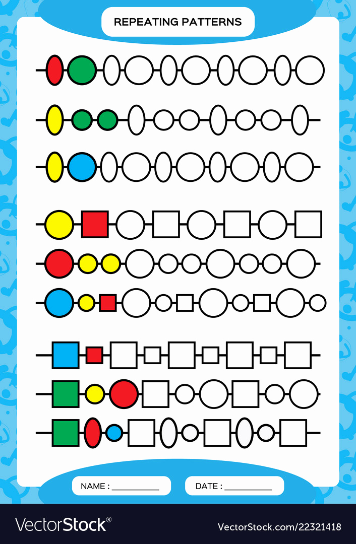 Repeated Pattern Worksheets Inspirational Plete Repeating Patterns Worksheet for Vector Image