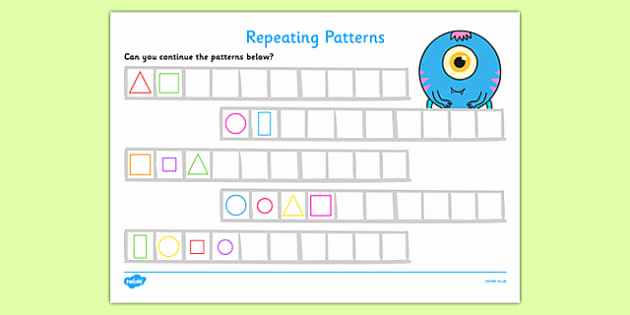 Repeated Pattern Worksheets Lovely Repeating Pattern Worksheet Activity Sheets Shapes