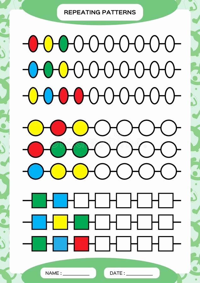 Repeated Pattern Worksheets Luxury Repeated Pattern Worksheets Plete Repeating Patterns