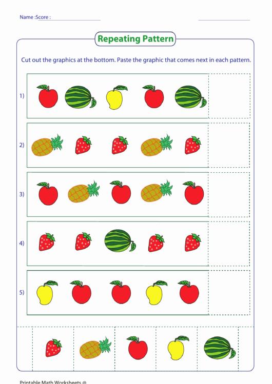 Repeated Pattern Worksheets Luxury Repeating Pattern Worksheet Fruit Printable Pdf