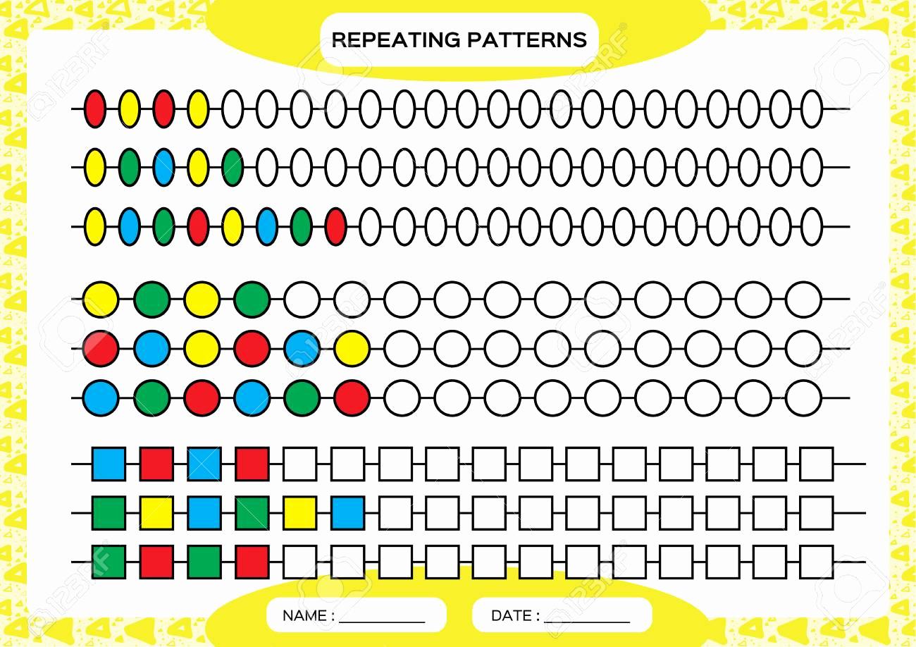 Repeated Pattern Worksheets Unique Plete Repeating Patterns Worksheet for Preschool Kids