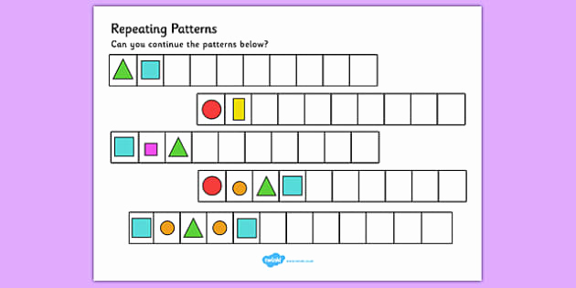 Repeated Pattern Worksheets Unique Repeating Pattern Activity Sheets Shapes and Colours