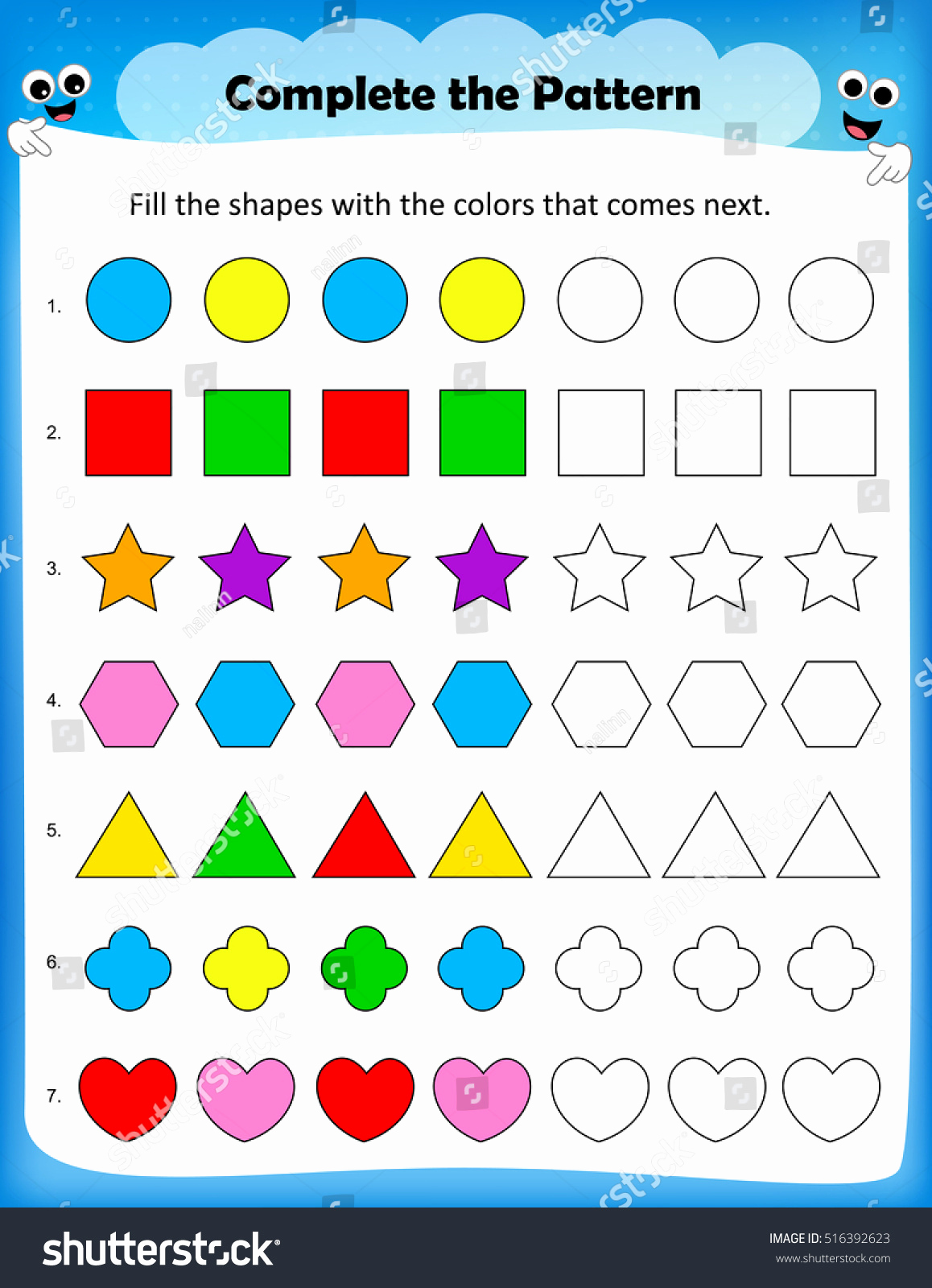 Repeated Pattern Worksheets Unique Repeating Patterns Worksheet