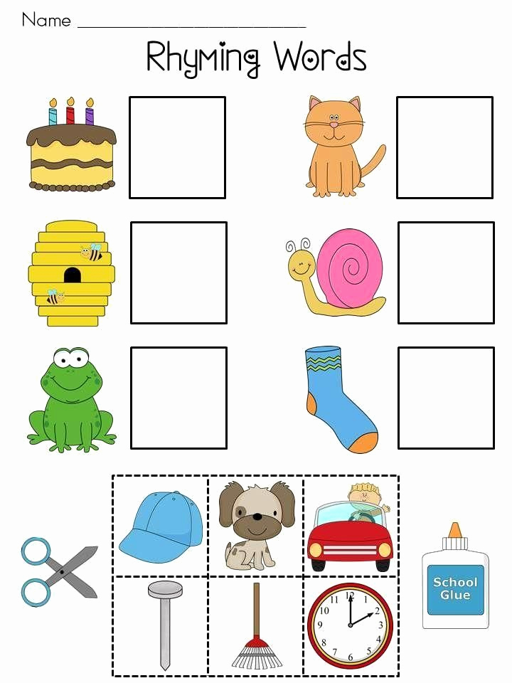 Rhyming Worksheets for Preschool Awesome Free Printable Cut and Paste Rhyming Worksheets for