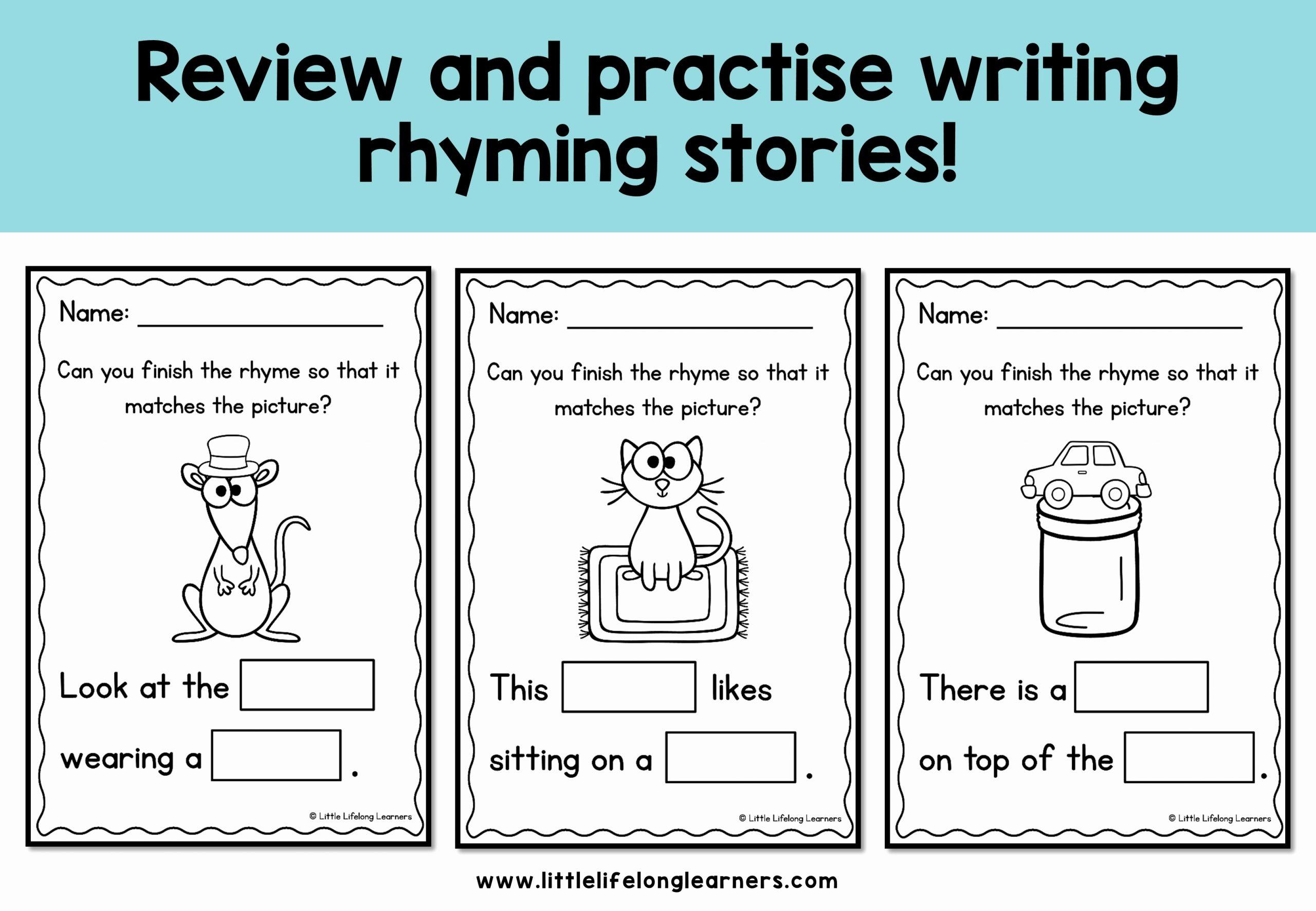 Rhyming Worksheets for Preschool Awesome Rhyming Stories Plete the Rhyme Little Lifelong