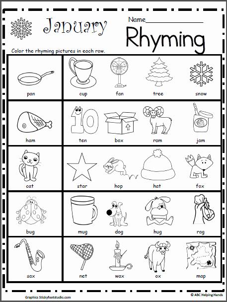 Rhyming Worksheets for Preschool Awesome Rhyming Worksheet for January Madebyteachers