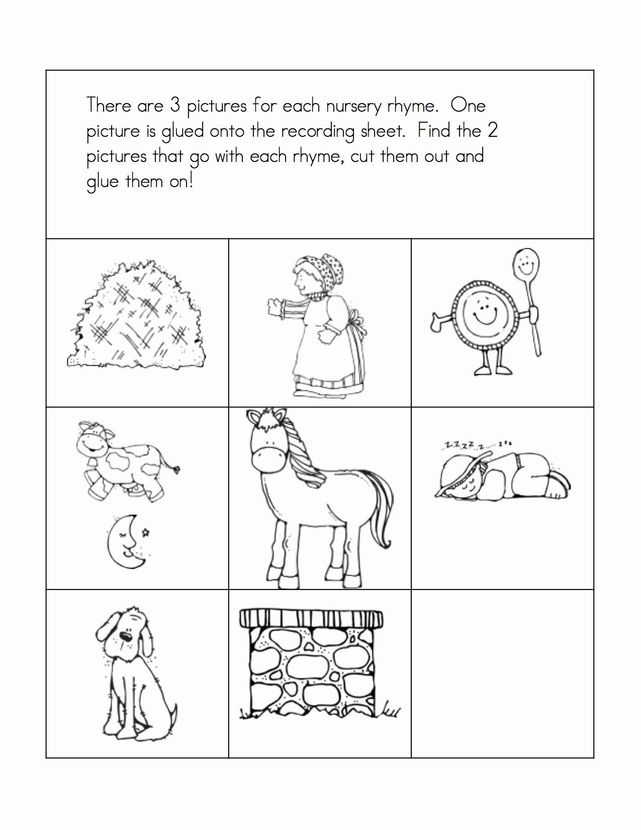 Rhyming Worksheets for Preschool Beautiful Preschool Rhyming Worksheets