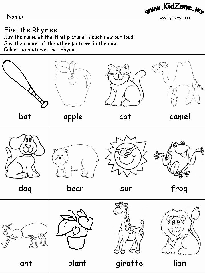 Rhyming Worksheets for Preschool Best Of Rhyming Words Worksheet