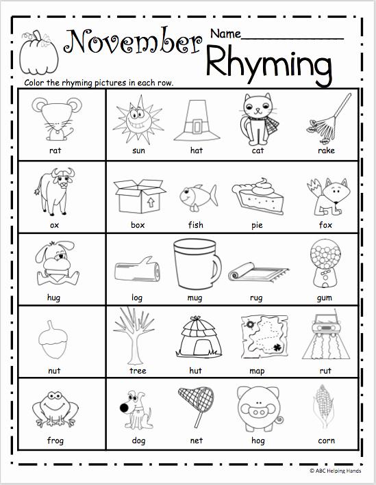 Rhyming Worksheets for Preschool Elegant Free November Rhyming Worksheets Madebyteachers