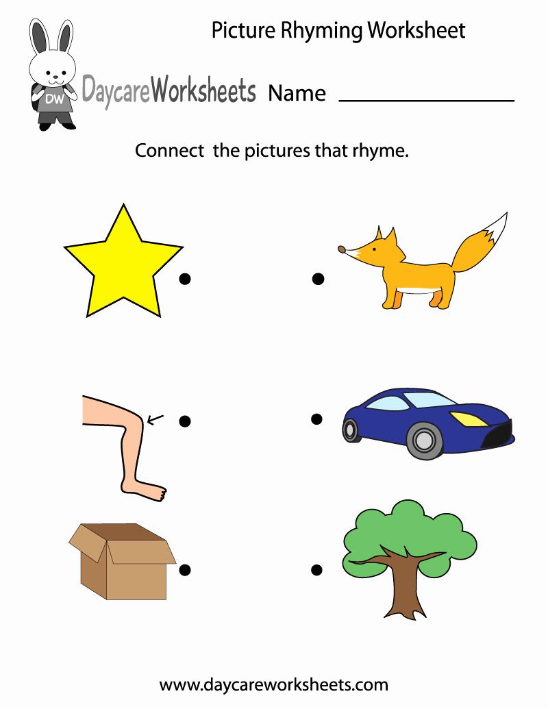 Rhyming Worksheets for Preschool Elegant Free Preschool Picture Rhyming Worksheet