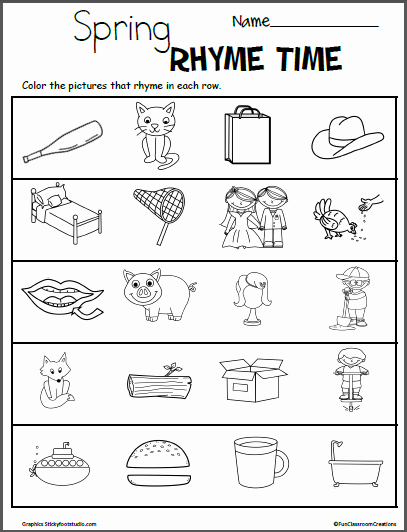 Rhyming Worksheets for Preschool Elegant Spring Color the Rhymes Worksheets Made by Teachers