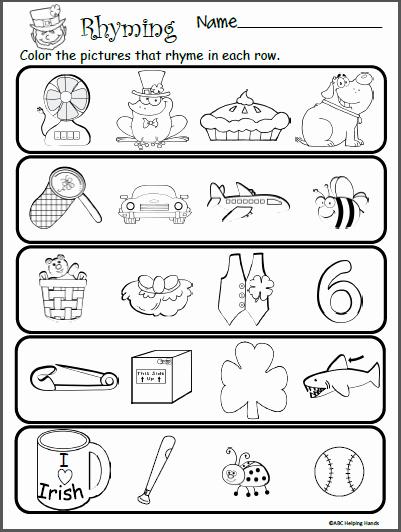 Rhyming Worksheets for Preschool Fresh Free Rhyming Worksheet for St Patrick S Day Madebyteachers