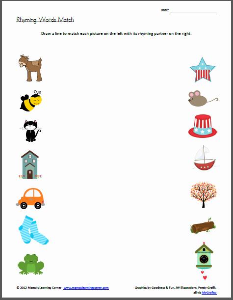 Rhyming Worksheets for Preschool Fresh Rhyming Words Match Worksheet Mamas Learning Corner