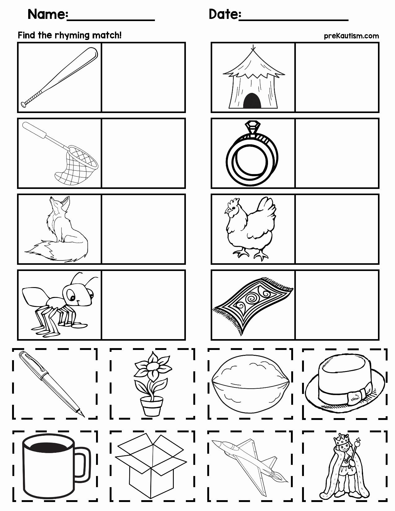 Rhyming Worksheets for Preschool Inspirational Matching Rhyming Words