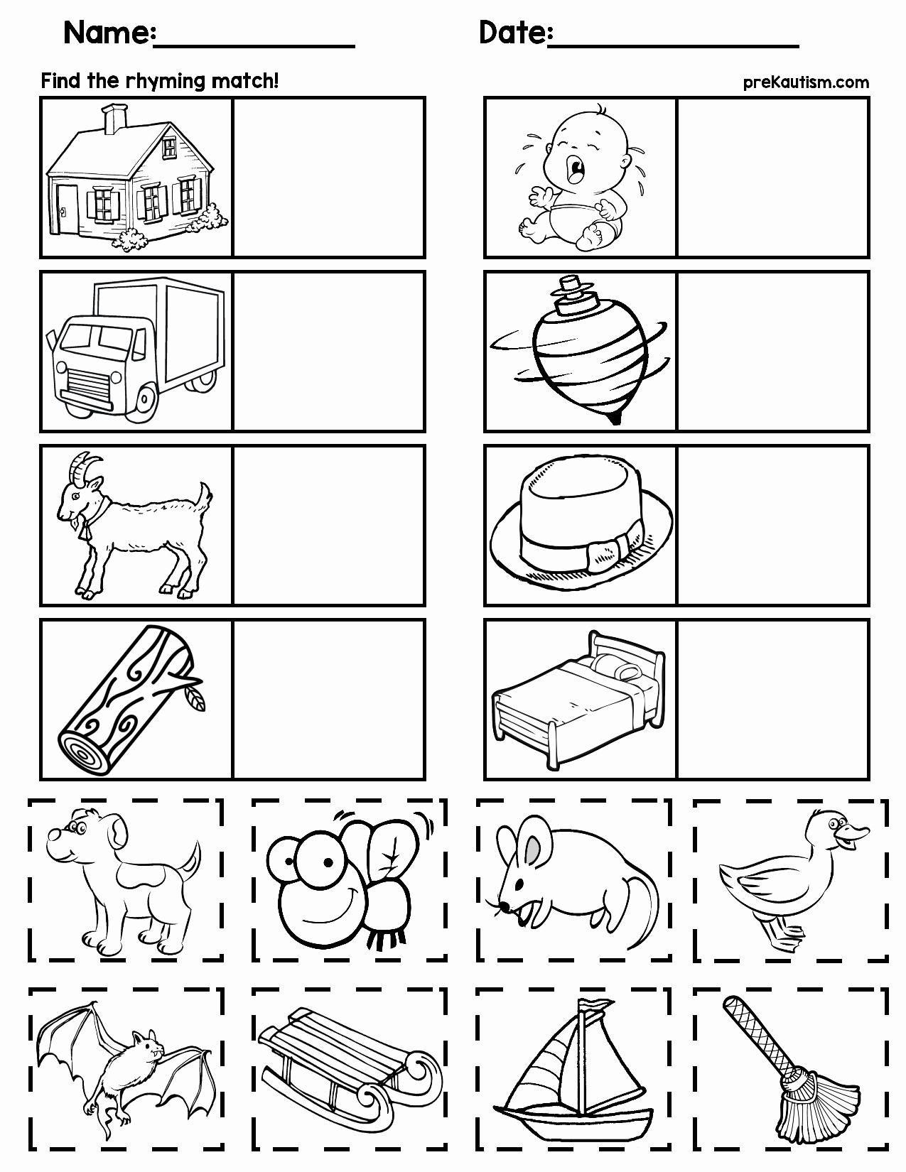 Rhyming Worksheets for Preschool Lovely Matching Rhyming Words