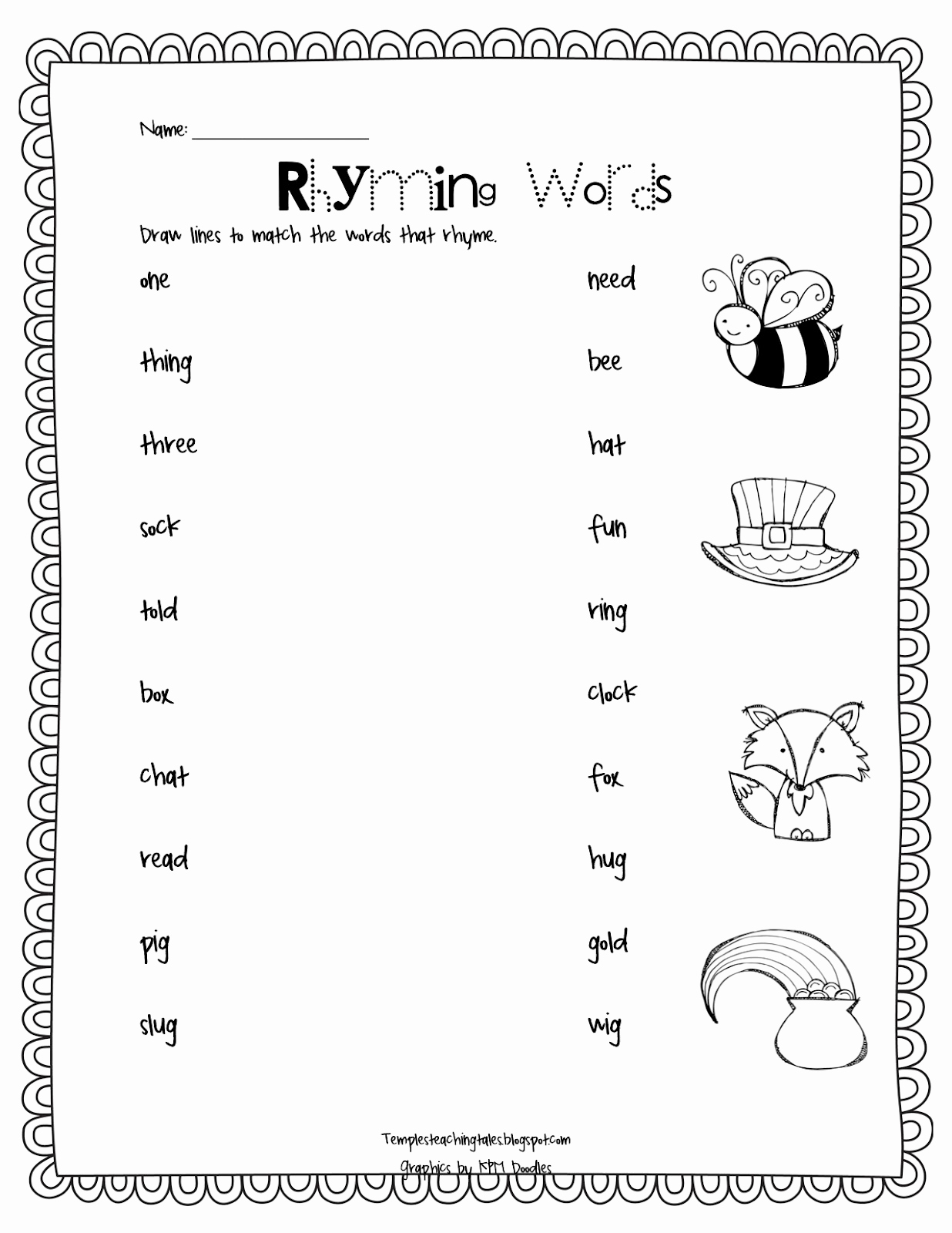 Rhyming Worksheets for Preschool Lovely Temple S Teaching Tales and Below Freebie and