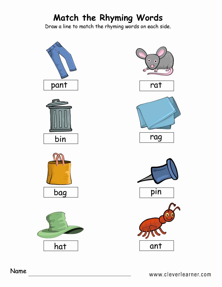 Rhyming Worksheets for Preschool New Rhyme Words Matching Worksheets for Kindergarten and