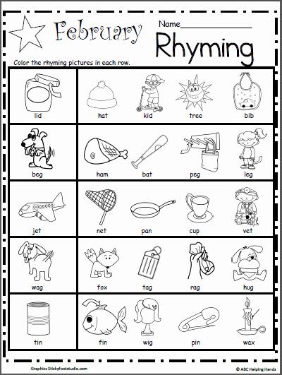 Rhyming Worksheets for Preschool Unique Kindergarten Rhyming Worksheets for February Madebyteachers