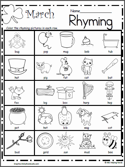 Rhyming Worksheets for Preschool Unique March Rhyming Worksheet Madebyteachers